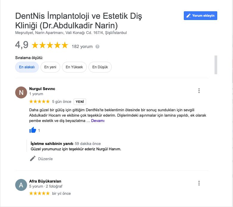 Gülüş Tasarımı Yaptıranların Yorumları Dentnis Abdulkadir Narin